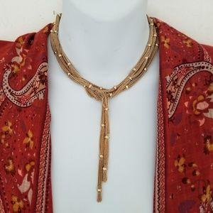 Free People Golden Knot Drape Necklace boho NWT